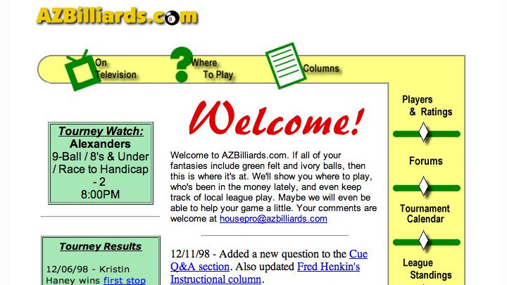 AZBilliards.com 1998